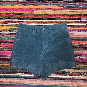 Corduroy blue shorts